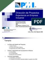 Direccion de Proyectos-Experiencia en una empresa Industrial