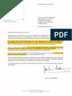 Courrier envoyé par Jean-Luc Moudenc à Richard Laganier