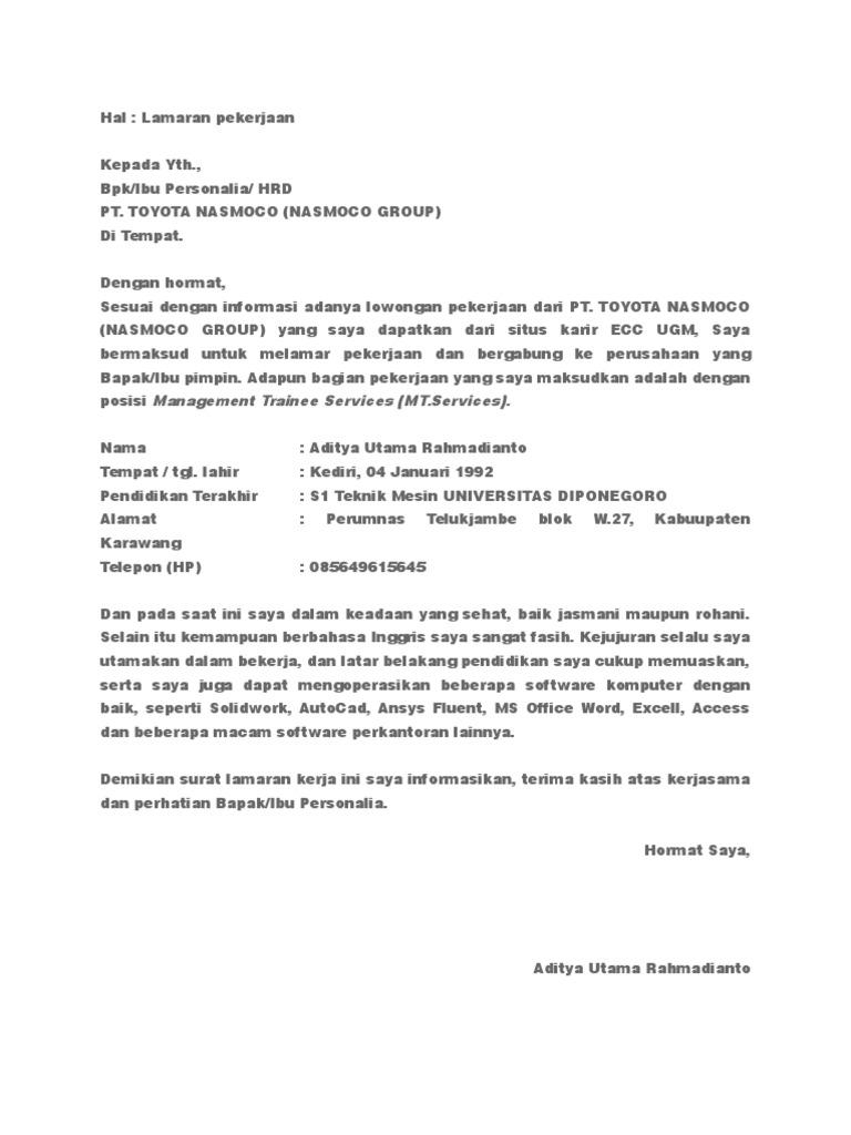 Surat Lamaran Nasmoco