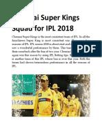 Chennai Super Kings Squad for IPL 2018