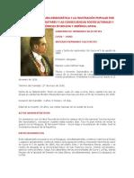 La Nueva Coyuntura Democrática y La Frustración Popular Por Las Dictaduras Militares y Las Consecuencias Socioculturales y Económicas en Bolivia y América Latina