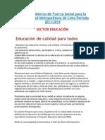PLAN EDUCATIVO DE SUSANA VILLARAN  (2011-2014)