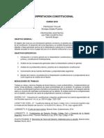 Interpretacion Constitucional. Programa 2018