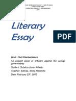 Literary Essay on Civil Desobedience by Henry Thoreau