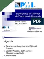 Experiencia en Direccion de Proyectos de Desarrollo
