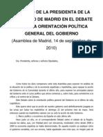 Discurso Esperanza Aguirre debate sobre el estado de la Región 2010