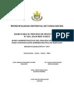 BASES CONVOCATORIA CAS N° 001-2018-MDY-PASCO
