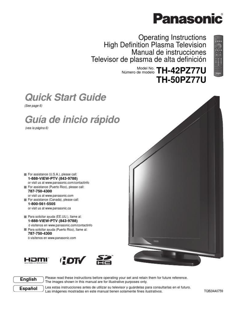 th42pz77u hdmi digital television rh scribd com manual tv plasma panasonic manual tv plasma panasonic viera