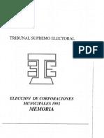 1.993 Memoria Elecciones Corporaciones Municipales, TSE Guatemala