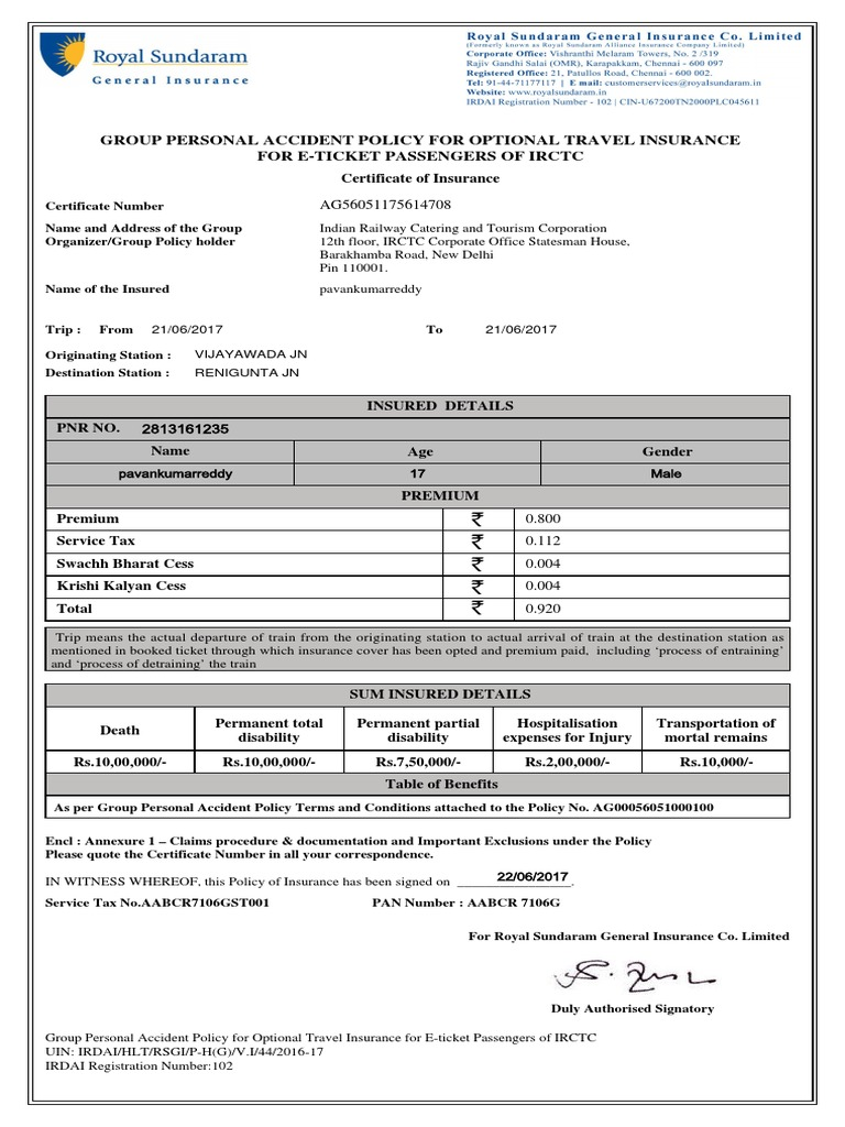 Policy Certificate 100000861258869 | Insurance | Service ...
