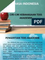 Bahasa Indonesia Ciri-ciri Kebahasaan Teks Akademik