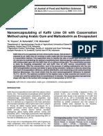 Nanoencapsulating of Kaffir Lime Oil with Coacervation Method using Arabic Gum and Maltodextrin as Encapsulant