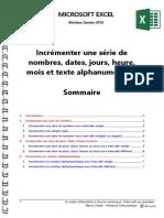 Microsoft Excel - Incrémenter Une Série de Nombres, Dates, Jours, Heure, Mois Et Texte Alphanumérique