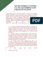 Breve Tratado Sobre La Teoria Platonica de Las Formas o de Las Ideas en Platon
