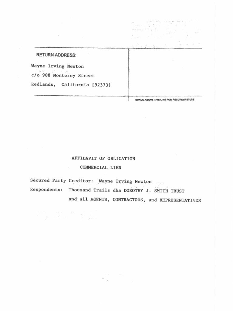 Wayne I Newton\u0027s Affidavit Of Commercial Lien   Great Template .