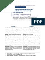 Consideraciones anestésicas para procedimientos de neumología intervencionista.