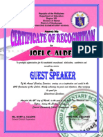 Pink Certificate of Recognition