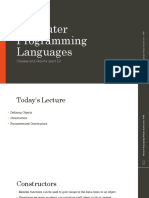 Computer Programming Languages MIS 301 - Classes and Objects (II)