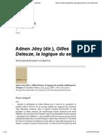 Adnen Jdey (Dir.), Gilles Deleuze, La Logique Du Sensible