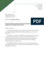 2018-03-26 - Ltr BOSS-T1DF - Appeal Lehigh County 2018-03-23 Response