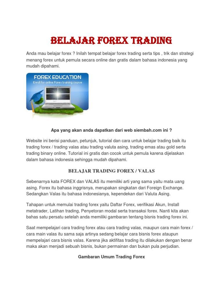 Materi pelatihan forex gratis
