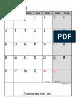Calendario Marzo 2018 Chile