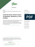 ▷ Leche de Avena ⇒ Receta Casera, Propiedades, Beneficios y más_