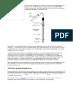 Os Métodos Potenciométricos Se Basan en La Medición Del Potencial en Una Celda Electroquímica Sin Paso de Corriente Apreciable