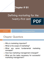 Mkt Mgt # 01- Defining Marketing for 21 St Century
