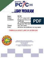 Bridgewater PCYC April School Holiday Program
