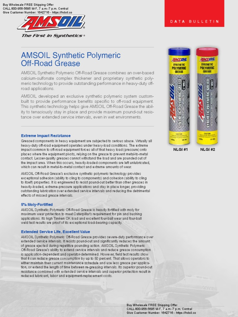 AMSOIL Synthetic Polymeric OffRoad Grease (GPOR1_GPOR2) pdf | Off
