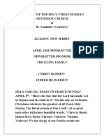 Nativity of the Holy Virgin Church - Newsletter - April, 2018