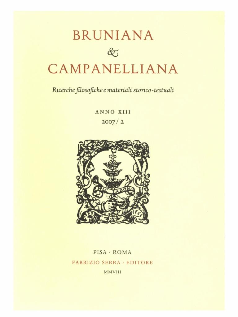 61f5903de783e3 Bruniana & Campanelliana Vol. 13, No. 2, 2007.pdf | Marsilio Ficino |  Gospels