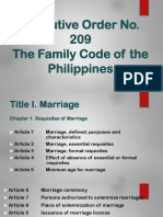 Summary Report family code of the pihilippines E.O. 209