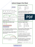 Add Subtract Integers Fact Sheet