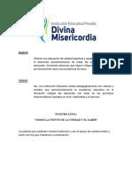 Mision y Vision Iep. Divina Misericordia 2018