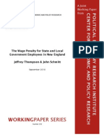 The Wage Penalty for State and Local Government Employees in New England