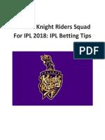 Kolkata Knight Riders Squad for IPL 2018