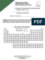 Prova  PPGQ UFS  2014-2