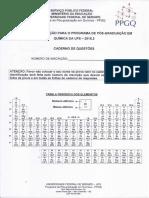 Prova  PPGQ UFS 2015-2