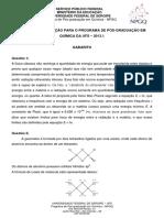 Gabarito Prova  PPGQ UFS 2013-1