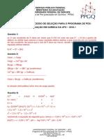 Gabarito Prova  PPGQ UFS 2016-1