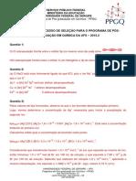 Gabarito Prova  PPGQ UFS 2015-2