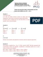 Gabarito Prova  PPGQ UFS  2015-1