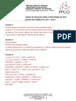 Gabarito Prova  PPGQ UFS 2016-2