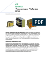 Teknikelektronika.com - Pengertian Transformator (Trafo) Dan Prinsip Kerjanya