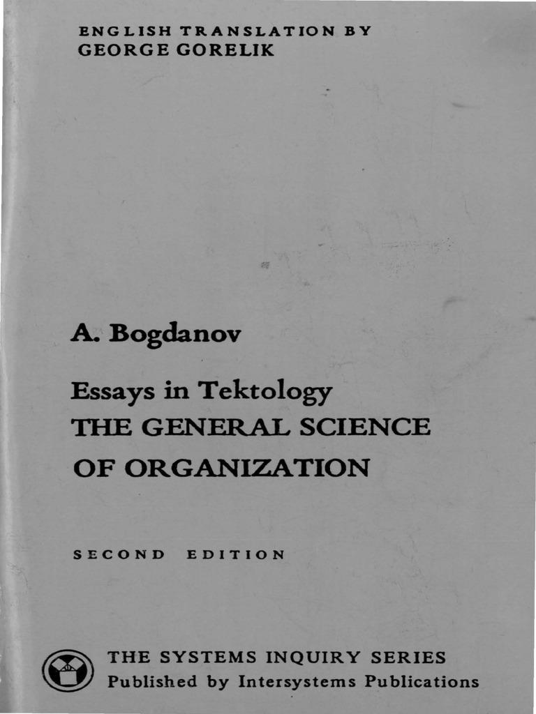Bogdanov Alexander Essays in Tektology 2nd Ed | Systems Theory ...