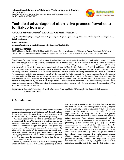 Itakpe Iron Ore Beneficiation Plant Process Improvement Studies pdf