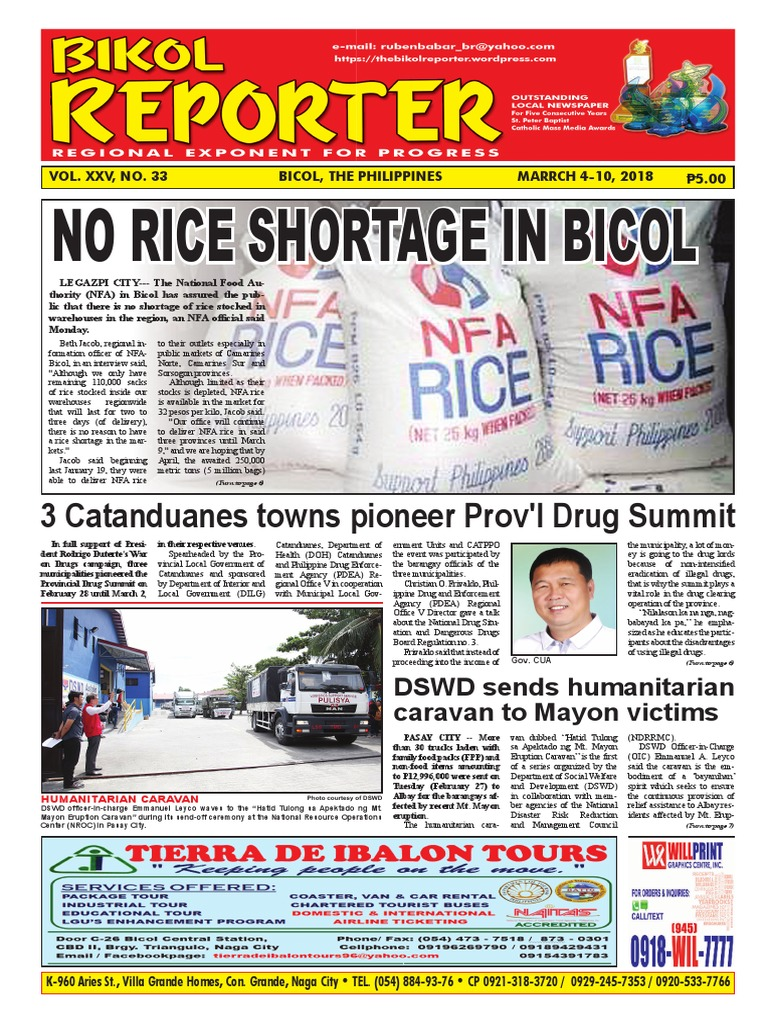 No Rice Shortage In Bicol: 3 Catanduanes towns pioneer Prov'l Drug