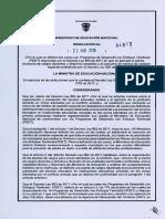 Resolución 4972 de 2018 Post Conflicto
